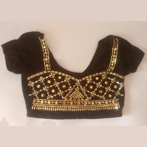 Honey Punch Black Crop Top With Gold Accents